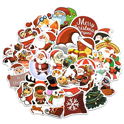 Waldd 25 Pack Christmas Stickers Holiday Waterproof Vinyl Skateboard Stickers Laptop Decals Gift Card Stickers for Water Bottle DIY Christmas Decoration (Decorations Christmas Card)