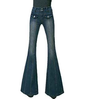 4485b935908d4a ZQYO Women's Vintage Bell Bottom Low Waist Fitted Denim Flare Jeans