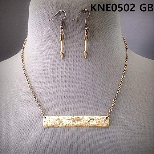 - Gold Finished Arrow Engraved Hammered Bar Shape Pendant Necklace & Earrings Set For Women