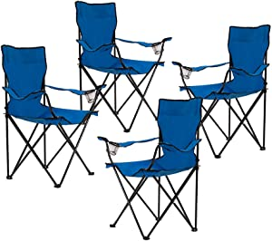 Homewell Portable Folding Chair for Outdoor, Beach and Camping (Blue, 4 Pack)