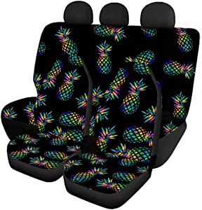 STUOARTE Tropical Pineapple Design Rear Backrest Cover + Rear Bottom Bench Cover+ Auto Front Seat Covers Full Set of 4 Auto Accessories Interior Decor, Universal fit Most Cars Sedan SUV