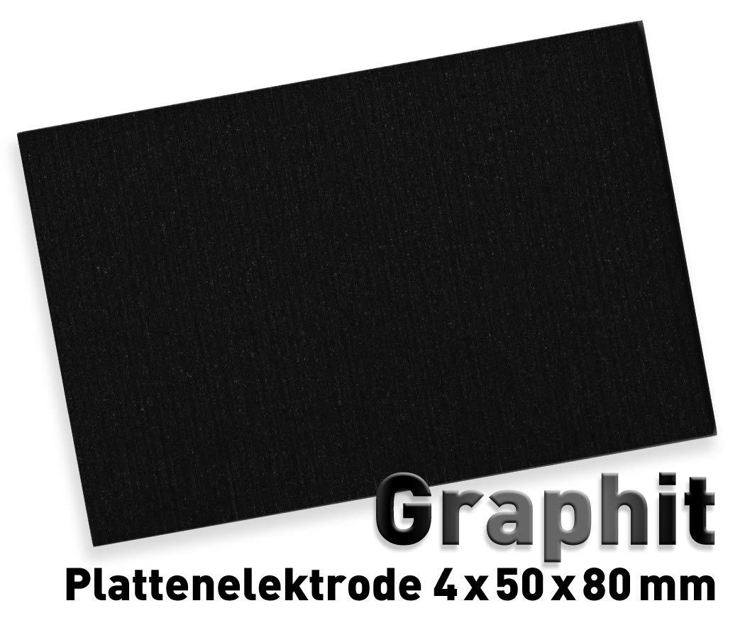 Graphit-Anode (80 x 50 mm) für Galvanik, Elektrolyse 8 x 5 cm, Alternative zu Platin-Elektrode, Plattenelektrode
