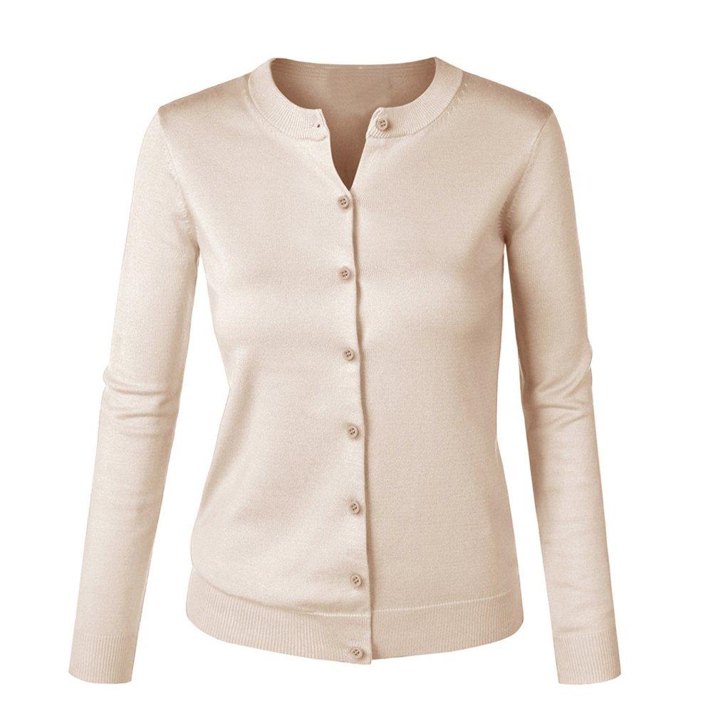 Vobaga Women's O-Neck Basic Knit Cardigan Sweater Camel XL