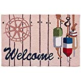 Coastal Welcome Boardwalk and Fishing Buoys Jellybean Accent Area Rug