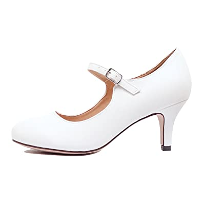 Chase & Chloe Kona-2 Women's Round Toe Mid Heel Mary Jane Pump (7 M US, White Pu) | Pumps
