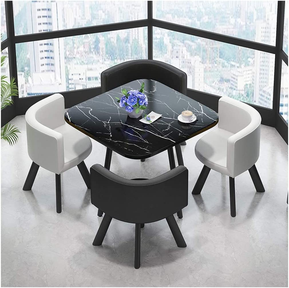 Creative Negotiation Table And Chair Combination Showroom Reception Lounge Shop Tables And Chairs Imitation Marble Dining Table And Chairs Square Round Optional 80cm In Diameter Leather Office Products