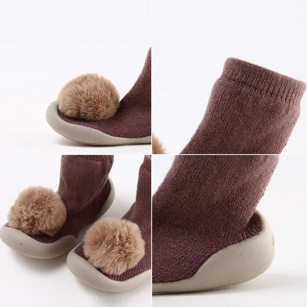 Cotton Thick Terry Cloth Lovely Ball Middle Tube Xiang Ru Newborn Toddler Baby Anti-slip Slipper Floor Socks