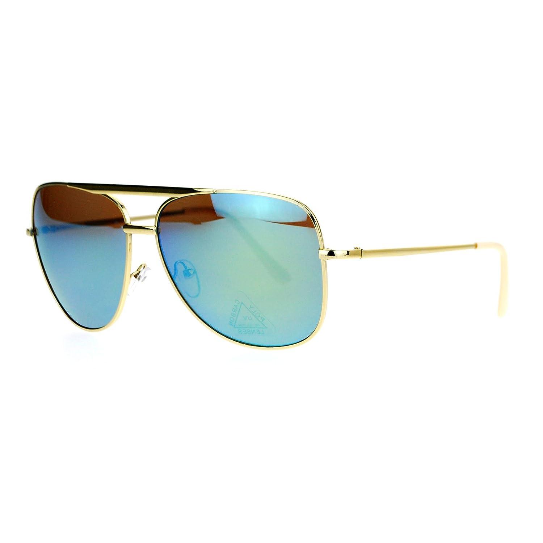 SA106 Mirrored Mirror Lens Retro Large Rectangular Pilot Sunglasses