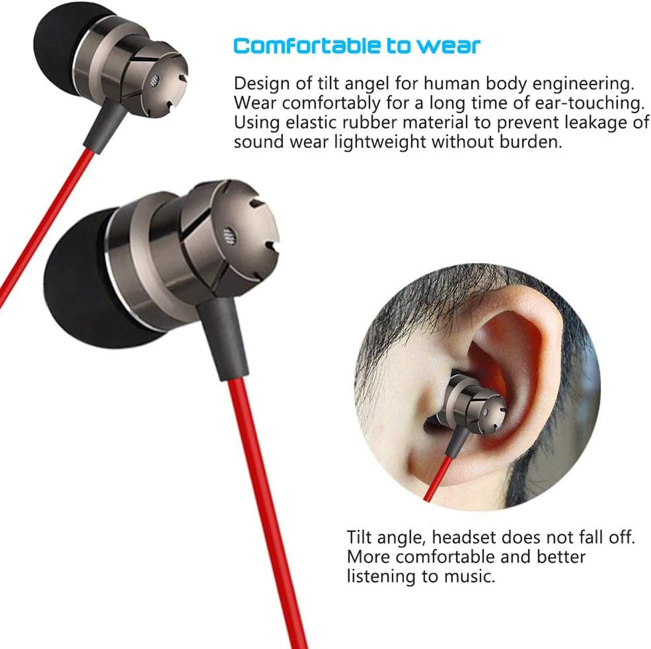 3.5mm in-Ear Earphone Stereo Music Phone Headset with Microphone Headset Super Clear Noise Isolating Earbuds, Sweatproof Earbuds for Gym Running