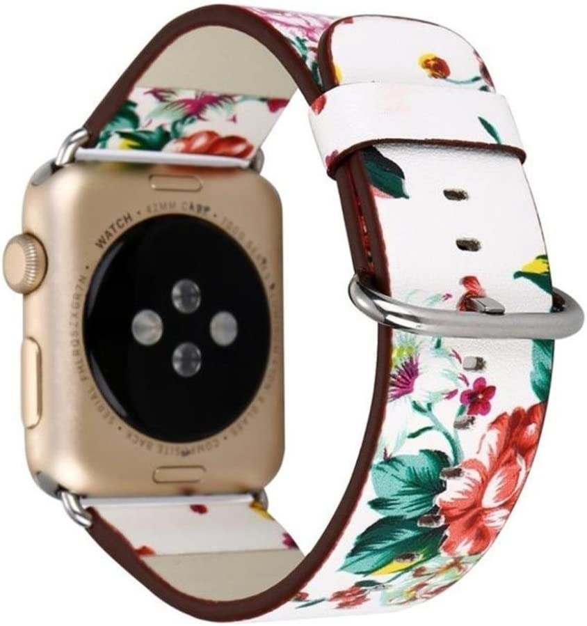 Hontao Floral Band Compatible with iWatch 38mm 40mm 42mm 44mm Soft PU Leather Flower Pattern Printed Strap for Series 5/4/3/2/1