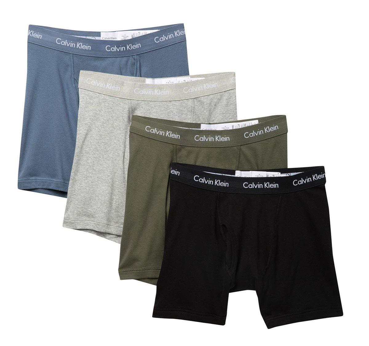 Calvin Klein Men`s Cotton Boxer Briefs 4 Pack (Black(NP2009-931)/Olive, Medium)