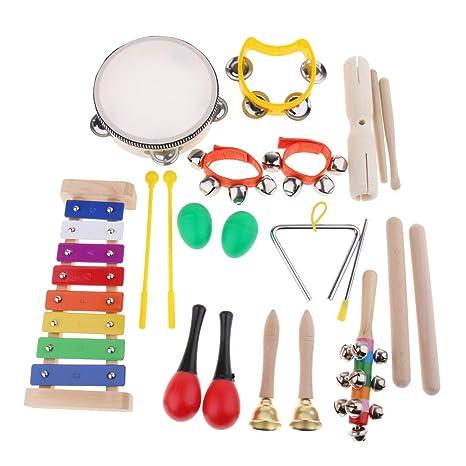 Homyl 1 x Conjunto de Instrumentos Musicales de Niños Fijaron Preescolar Duradera Exquisita Diseño Ajustable Informática