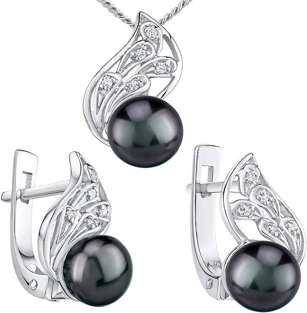 SILVEGO - LPS1697W - Juego de joyas de Plata 925 con Perla Negra Natural de Color Tahiti