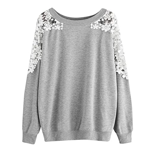 AMSKY Shirts for Teen Girls,Women Blouse Solid Color Lace Print Long-Sleeved Round