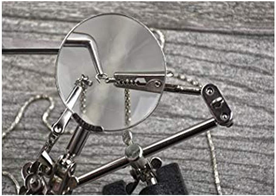 Hand-held Magnifier Helping Hands Magnifier Station Assembly Repair Modeling Hobby and Crafts for Soldering 2.5X Hands Free Magnifying Glass Stand with Clamp and Alligator Clips