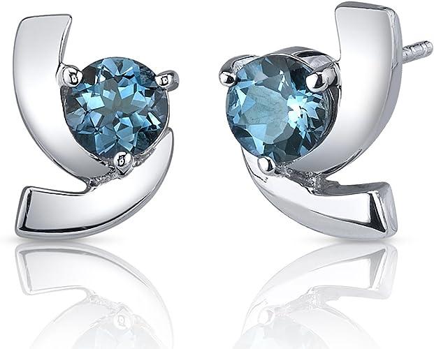 3mm London Blue Topaz Round Shape Stud Earrings White Gold Silver