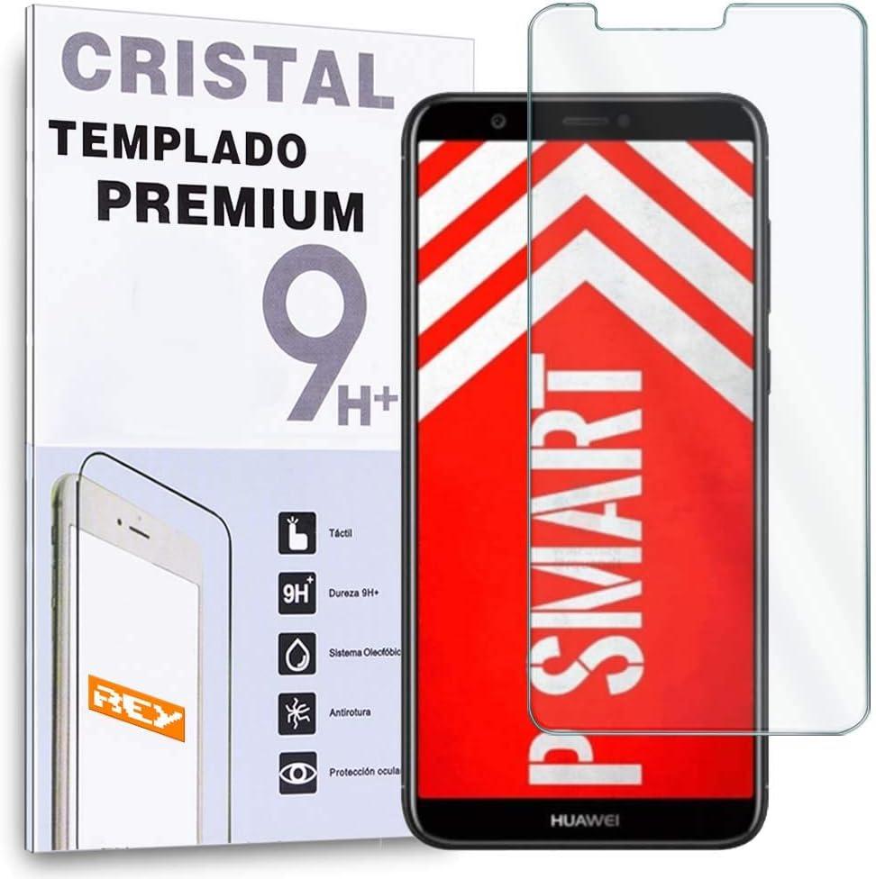 REY Protector de Pantalla para Huawei P Smart/Huawei Enjoy 7S, Cristal Vidrio Templado Premium