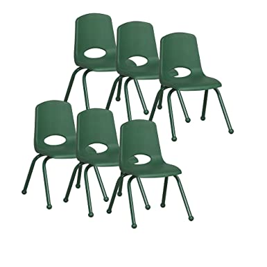 ECR4Kids 14 School Stack Chair with Powder Coated Legs and Ball Glides, Green 6-Pack