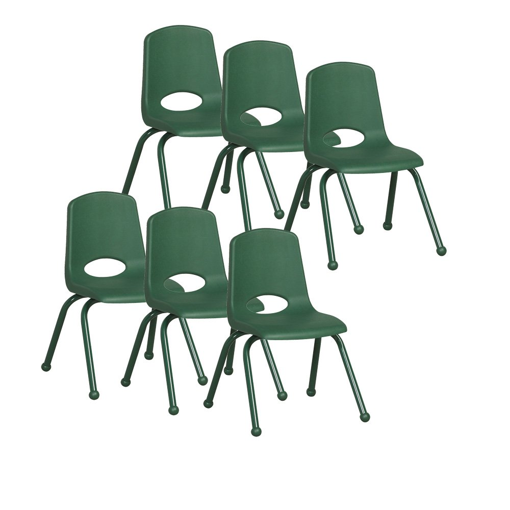 ECR4Kids 14'' School Stack Chair with Powder Coated Legs and Ball Glides, Green (6-Pack)