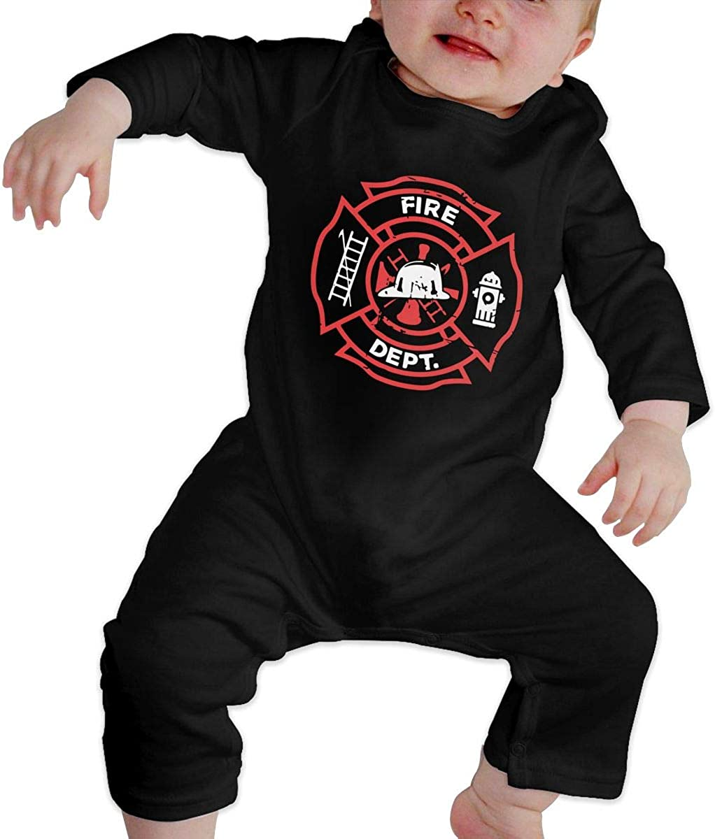 BKNGDG8Q Toddler Baby Boy Romper Jumpsuit Distressed Firefighter Organic One-Piece Kid Pajamas Clothes