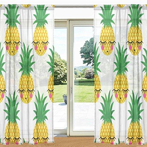My Daily Shy Pineapple Emoji Printed Sheer Window and Door C