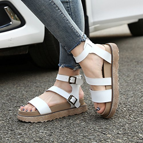 LINNUO Womens Sandals Platform with Ankle Strap Flatform Thick Bottom Roman Summer Wedge Heel Shoes White G5aLfw
