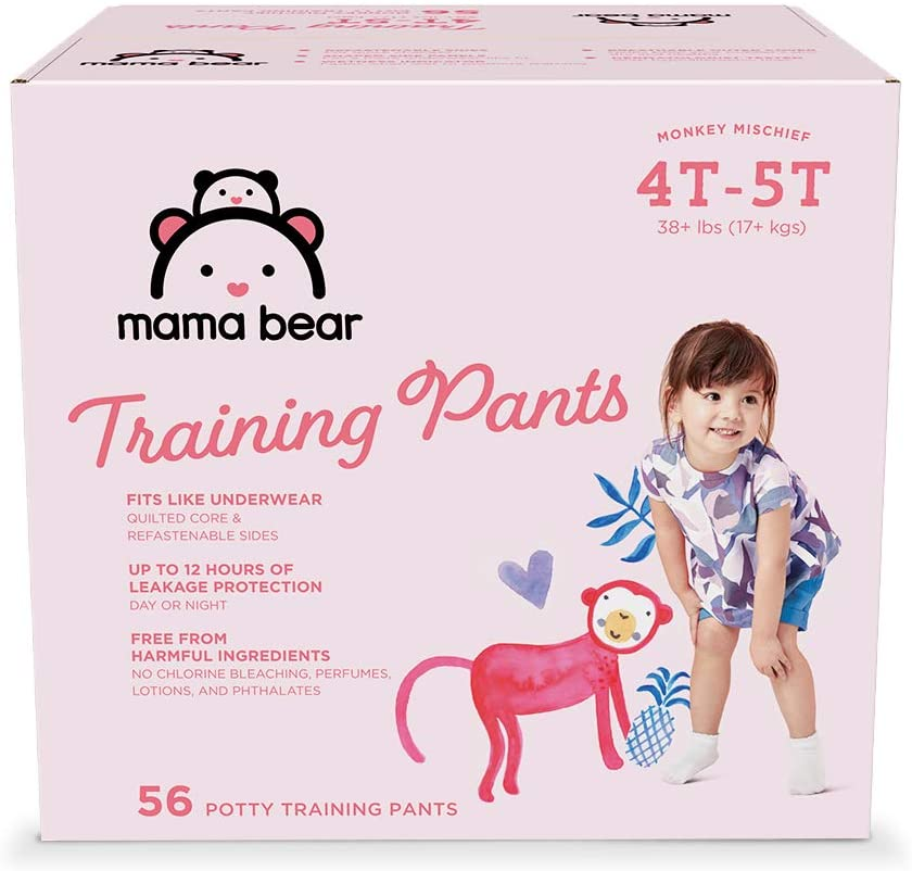 Amazon Brand - Mama Bear Training Pants For Girls 4T-5T, 56 Count