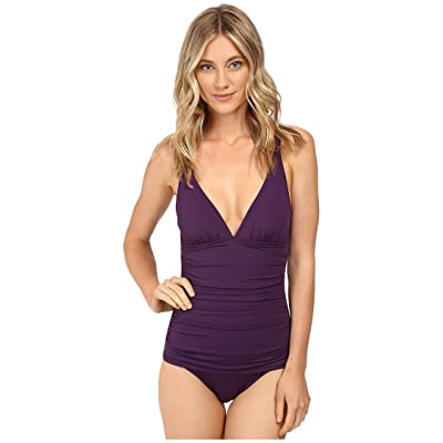 Tommy Bahama Pearl Over-the-Shoulder V-Neck One-Piece Swimsuit Regal Purple Women's Swimsuits One Piece