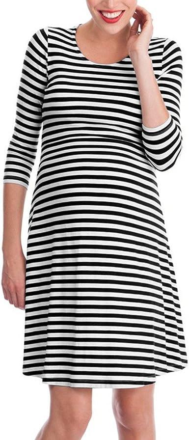 Keepwin Vestido A Rayas De Lactancia Maternidad De Noche CamisóN Mujeres Embarazadas Ropa De Dormir Premamá Pijama Verano (XXL, Negro): Amazon.es: Ropa y accesorios