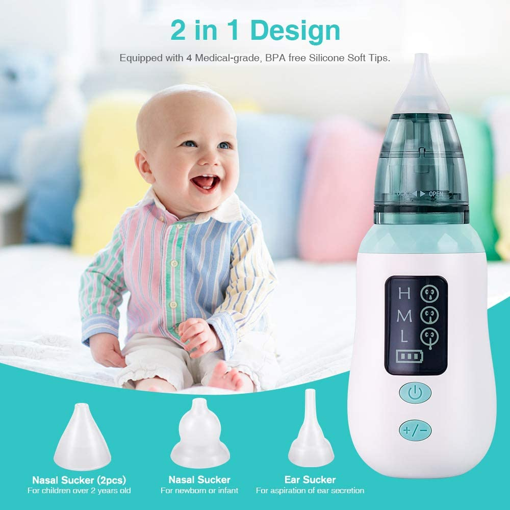 USB Aspirador Nasal Electrico con Pantalla LED Aspirador Limpiador de Oidos para Beb/és 4 Boquillas de Succi/ón de Saca Mocos Bebe Reutilizables Limpieza de Nariz para Beb/é Aspirador Nasal