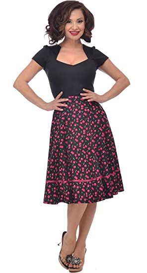 7d6a249f937 Steady Clothing Plus Retro Vintage Cherry Cherry Juicy Fruit Print Swing  Skirt (1X)