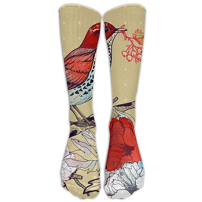 f4d27cb28199e Amazon.com: High Boots Crew Floral With Birds Compression Socks ...