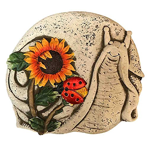 Cement Stepping Stone Snail with Sunflower and Ladybug