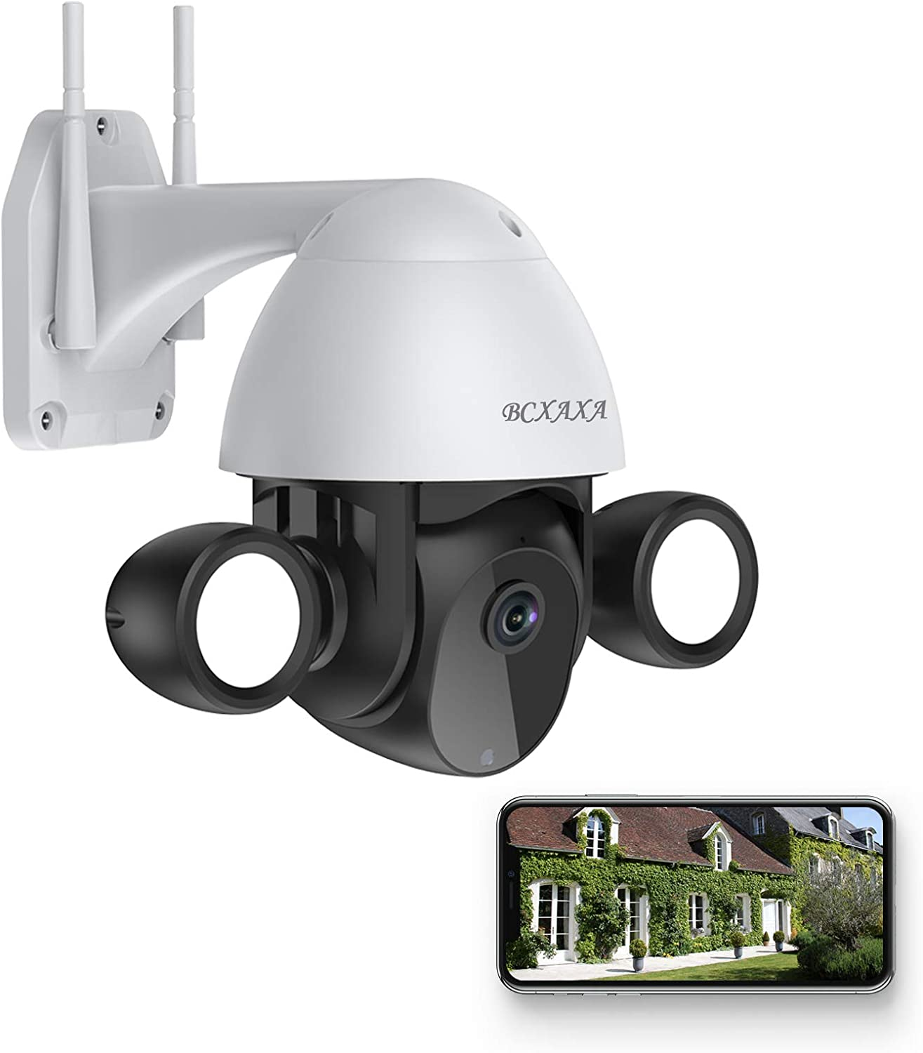 3MP Security Camera Outdoor, BCXAXA Wifi Wireless Camera with Smart Lights, 4.0X Digital Zoom, IP66 Waterproof, Color Night Vision, Motion Detection, Auto Tracking, 2-Way Audio, Support Cloud/SD Card