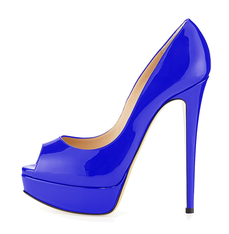 uBeauty Zapatillas Plataforma Mujer Zapatos de Tacon Tallas Grandes Sandalias Sin Cordones 40 EU|Azul
