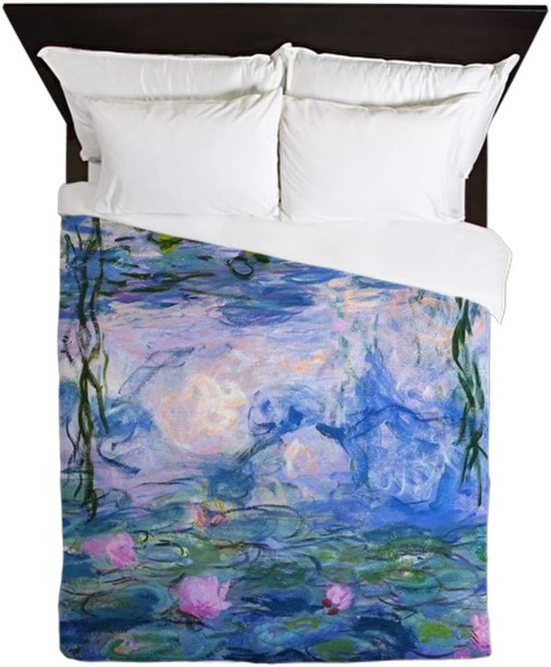 CafePress Water Lilies Claude Monet Queen Duvet Cover, Printed Comforter Cover, Unique Bedding, Microfiber