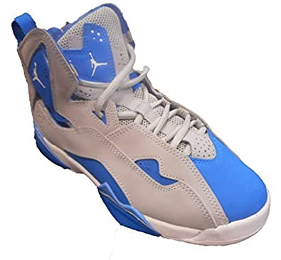 buy popular e1adf 0048b Image Unavailable. Image not available for. Color  Jordan Nike Boys True  Flight BG, Wolf Grey White-Blue Spark-White