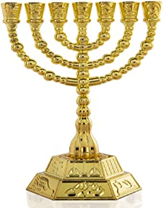 7-Branch Menorah Candle Holder for Shabbat,Tabernacle, Home Decor Ornaments Table Centerpiece Display(Gold)