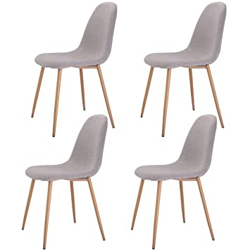 Giantex Set of 4 Dining Side Chairs Steel Legs Wood Look Fabric Cushion  Seat Home Dining. Amazon com   Giantex Set of 4 Dining Side Chairs Steel Legs Wood