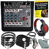 Allen & Heath ZEDi8 Compact 8-Channel Hybrid Mixer & USB Interface + Platinum Bundle w/ Headphones, Home Recording for Musicians for Dummies, 10X Cables, Fibertique Cloth