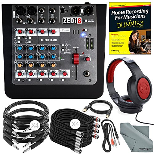 Allen & Heath ZEDi8 Compact 8-Channel Hybrid Mixer & USB Interface + Platinum Bundle w/ Headphones, Home Recording for Musicians for Dummies, 10X Cables, Fibertique Cloth by Photo Savings