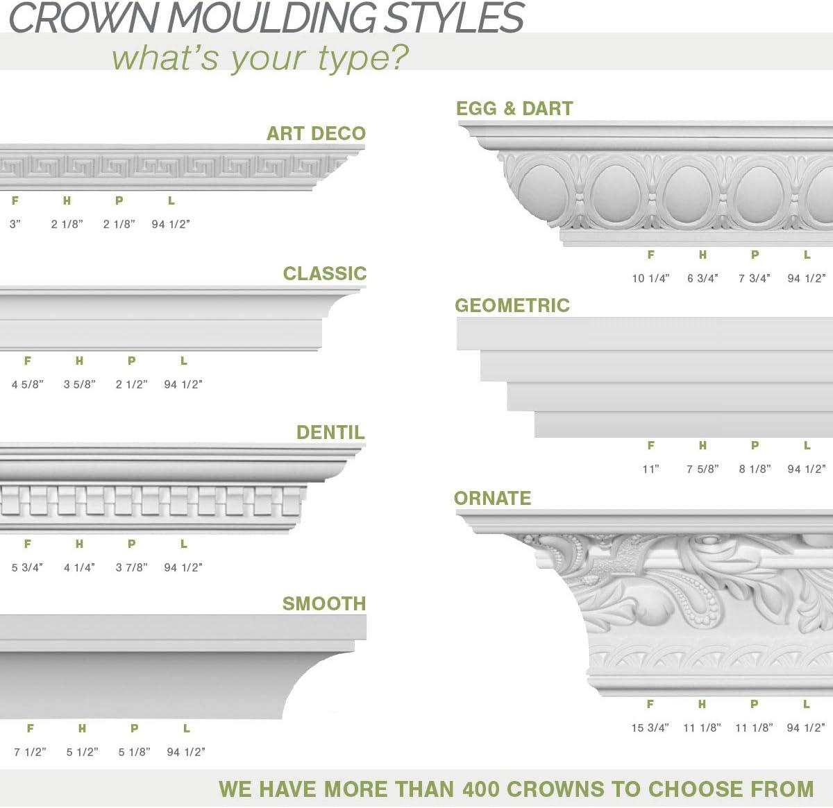 Ekena Millwork MLD04X04X06ZA Zadlo Crown Moulding Factory Primed 4 1//8H x 4 1//8P x 5 7//8F x 94 1//2L
