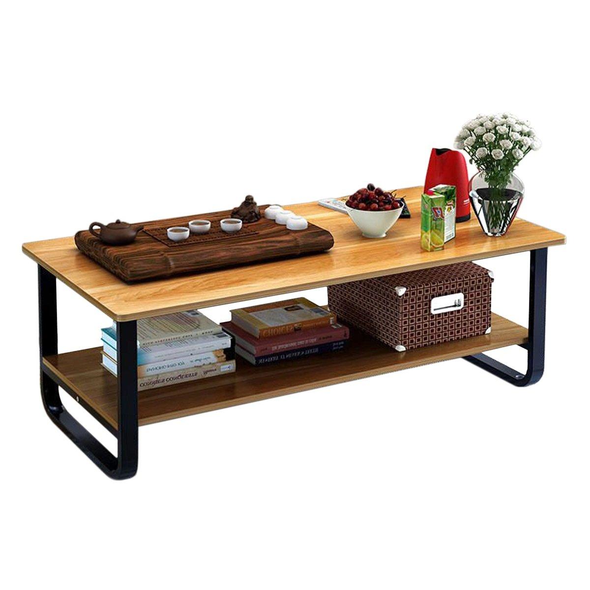 Rectangular Coffee/Tea Table with Storage Shelf (Wood)