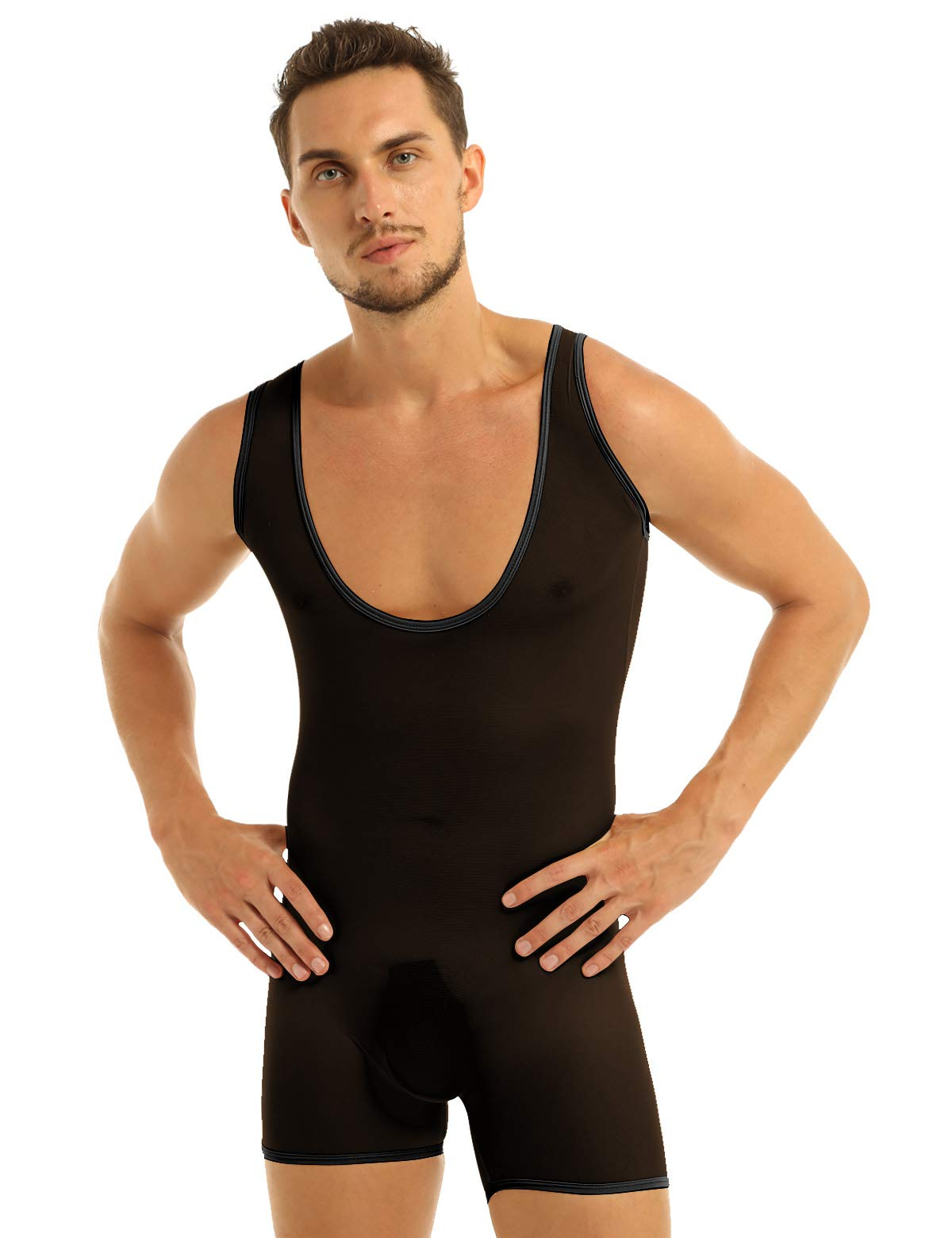 Inlzdz Mens See Through Sheer Mesh Tights Underwear One Piece Wrestling Singlet Leotard Bodysuit Black X Large