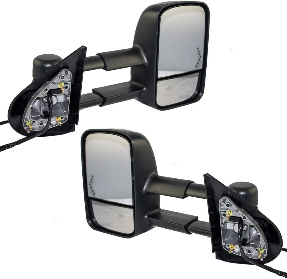 Driver and Passenger Power Tow Side Telescopic Mirrors Heated Signal Replacement for Chevy Cadillac GMC Pickup Truck SUV 20862098 20862099 AutoAndArt