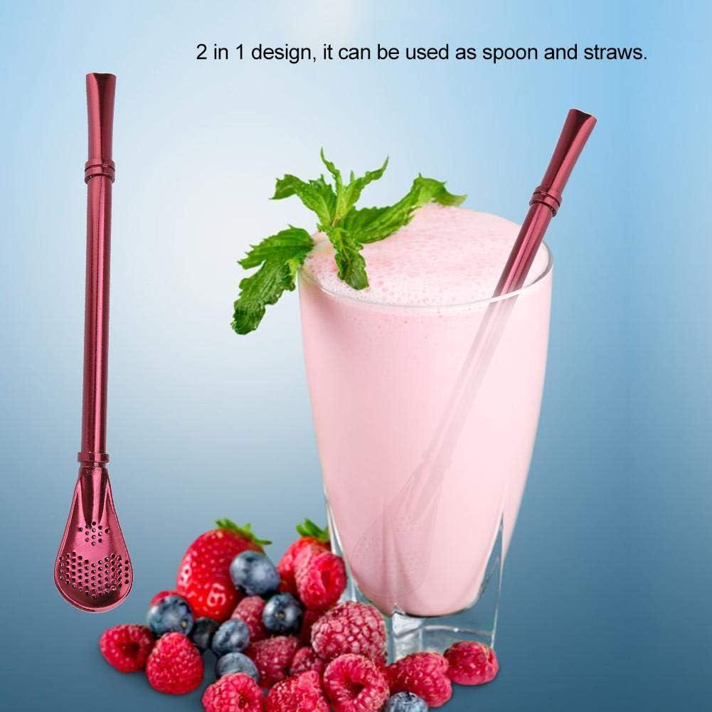 FTVOGUE 5 cucharas de popote de Acero Inoxidable Reutilizables para t/é Lavables caf/é Zumo o filtrado