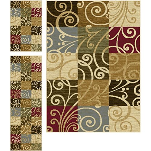 3 Piece Color Block Geometric Squares Patterned Area Rug Set, All Over Swirling Vines Themed, Rectangle Runner Mat Indoor Hallway Doorway Living Area Bedroom Carpet, Stylish Modern Design, Multicolor by S & E