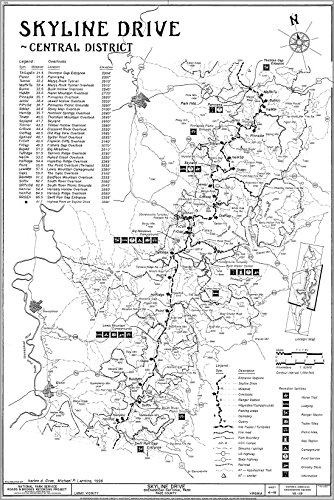 24x36 Poster; Skyline Drive, Central District Map - In The Blue Ridge Mountains From Thornton Gap To Swift Run Gap, Shenandoah National Park