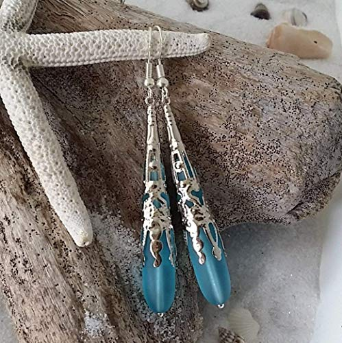 "Handmade jewelry from Hawaii,""long teardrop"" Turquoise Bay blue sea glass earrings,""December Birthstone"", (Hawaii Gift Wrapped, Customizable Gift Message)"