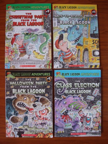 Black Lagoon Adventures: Set of 4 Chapter Books (The Halloween Party from the Black Lagoon ~ The Christmas Party from the Black Lagoon ~ Back-to-School Fright from the Black Lagoon ~ The Class Election from the Black Lagoon) -